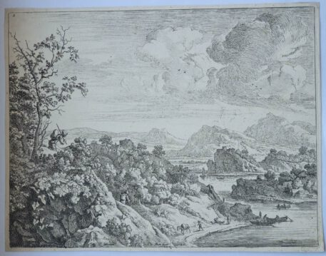 Print. J. v. Aken, after H. Saftleven. Landscape: view of the Rhine.