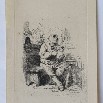Print. L.A. Carolus after C. Bega. Seated Peasant.