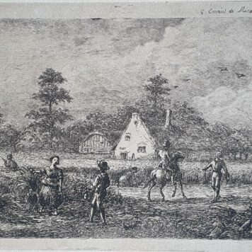 Prent. G.E. de Micault. The harvest at the village of Houten.