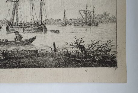 Print. K. F. Bendorp (I), View on the Maas with boats.
