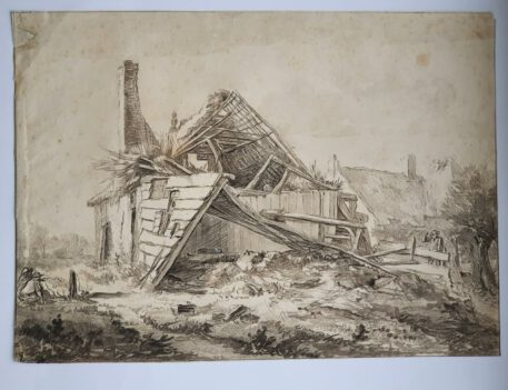 Print. C. Brouwer after J. I. van Ruisdael, A destroyed farm.