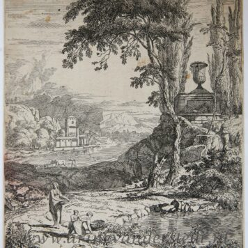 [Original etching, ets] A. Meyering. Italian landscape by the water, published 1650-1700.