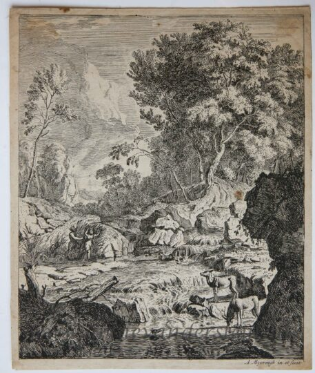 [Orignal etching, ets] A. Meyering. Italian landscape with Pan and Syrinx, published 1650-1700.
