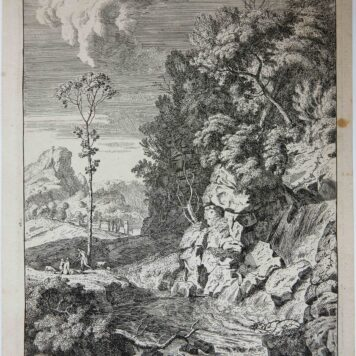 [Original etching, ets] A. Meyering. Italian landscape with waterfall (waterval), published 1650-1700.