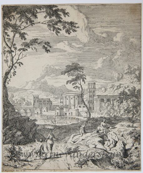 [Original etching, ets] A. Meyering. Landscape with a woman with a parasol, published 1650-1700.