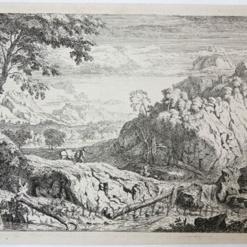 [Original etching, ets] A. Meyering. Landscape with hunter, published before 1700.