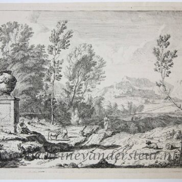 [Original etching, ets] A. Meyering. Italian landscape with a shepherd playing the flute near a monument, published before 1700.