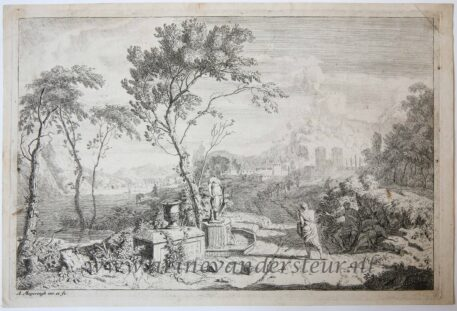 [Original etching, ets] A. Meyering. Italian landscape with a statue, published before 1700.