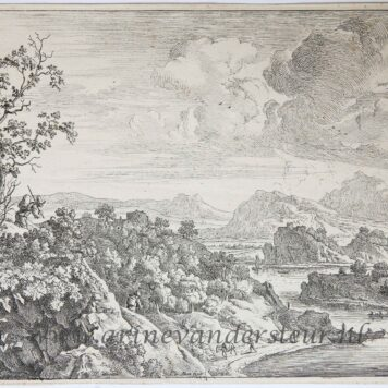 [Antique etching, ets] J. v. Aken, after H. Saftleven. Landscape: view of the Rhine, published 1624-1661.