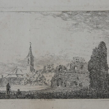 [Original etching, ets] H. van Brussel, Abbey at Rynsburg / Abdij te Rynsburg, published around 1815.