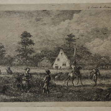 [Original etching, ets] G.E. de Micault. The harvest at the village of Houten, published 1854.