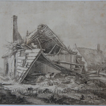 [Antique printdrawing] C. Brouwer after J. I. van Ruisdael, A destroyed farm,published 1821.