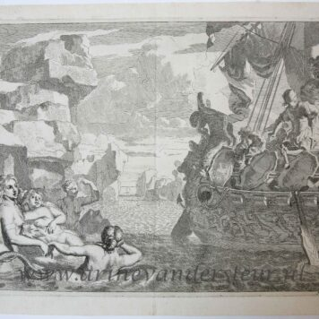 [Original etching, ets] J. Glauber, after G. de Lairesse, Odysseus and the mermaids (Odysseus en de sirenen).