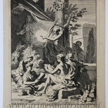 [Original etching, ets] J. Glauber, after G. de Lairesse, Allegory on the art of drawing (Allegorie tekenkunst).