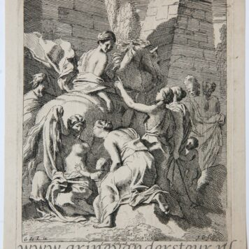 [Original etching, ets] J. Glauber, after G. de Lairesse, Cloelia escapes on the back of a stolen horse.