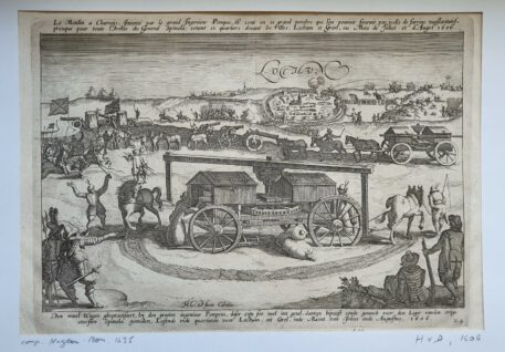 Print. Monogrammist HVD, Capture of Lochem by Spinola and the flour carts in his army in 1606.