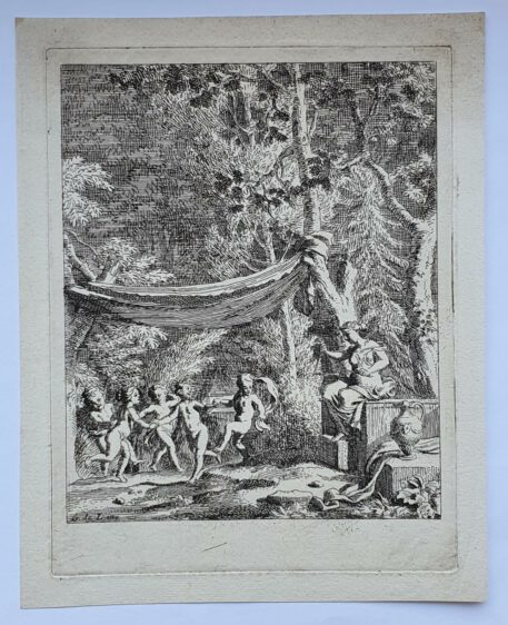 Print. J. Glauber, after G. de Lairesse, Five putti dance to the music of a triangle.