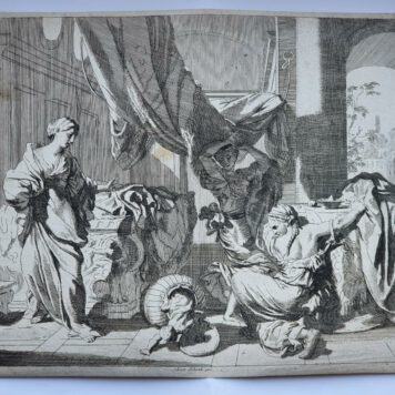 Print. J. Glauber, after G. de Lairesse, Herse and Agraulos open the basket with the child Erichthonius.