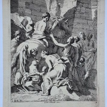 Print. J. Glauber, after G. de Lairesse, Cloelia escapes on the back of a stolen horse.