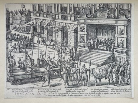 Print. F. Hogenberg, Anjou takes the oath to the city of Antwerp.