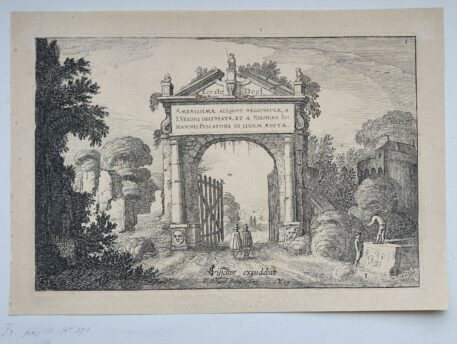 Prent. / Print. J. v.d. Velde II, Title page of a part of the set of Landscapes.