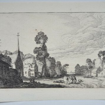 Print. J. v.d. Velde II, Country road through a village.