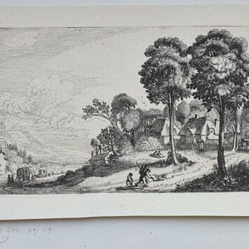 Print. J. v.d. Velde II, Travelers on a path near a village.