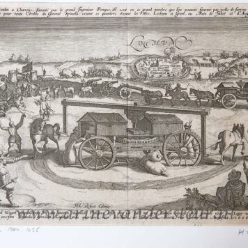 [Antique etching and engraving, ets en gravure, print] Monogrammist HVD, Capture of Lochem by Spinola and the flour carts in his army in 1606, published before 1650.