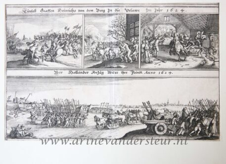 [Antique etching and engraving, ets en gravure, print] Anonymous. The Dutch approaching their enemy, 1624, published before 1650.