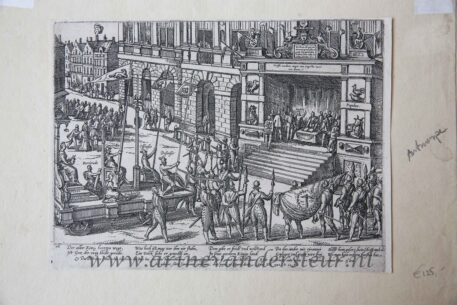 [Antique etching, ets, history print] F. Hogenberg, Anjou takes the oath to the city of Antwerp, published before 1600.