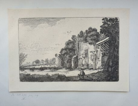 Print. J. v.d. Velde II, Woman with child by a ruined house.