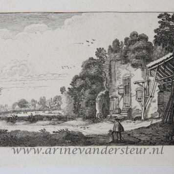 [Antique etching, ets, landscape print] J. v.d. Velde II, Woman with child by a ruined house, publisdhed before 1713.