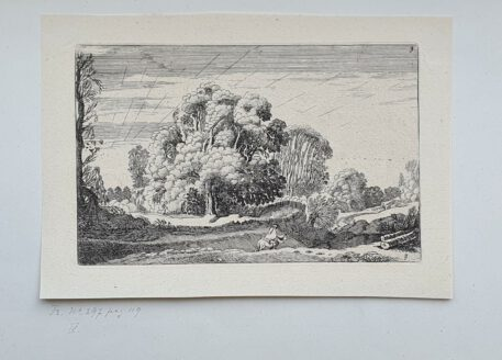Print. J. v.d. Velde II, Rider in a landscape at sunrise.
