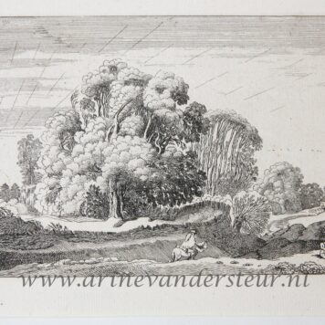 [Antique etching, ets, landscape print] J. v.d. Velde II, Horse rider in a landscape at sunrise, published before 1713.
