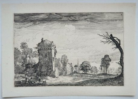 Print. J. v.d. Velde II, Hunters with dogs by a tower in a landscape.