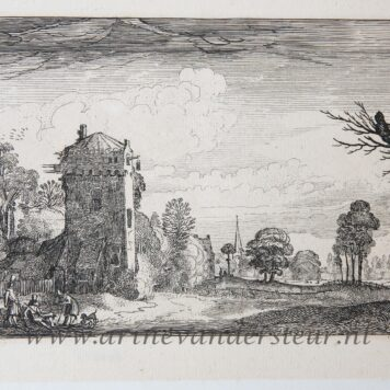 [Antique etching, ets, hunting print] J. v.d. Velde II, Hunters with dogs by a tower in a landscape, published before 1713.