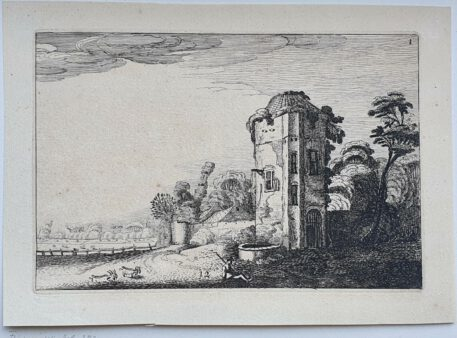 Print. J. v.d. Velde II, Shepherd at a tower with a well.