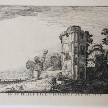 [Antique etching, ets, landscape print] J. v.d. Velde II, Shepherd at a tower with a well, published before 1713.