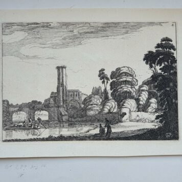 Print. J. v.d. Velde II, Ferry in front of a stone bridge.