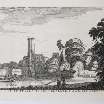 [Antique etching, ets, landscape print] J. v.d. Velde II, Ferry in front of a stone bridge (veerboot voor stenen brug), published before 1713.