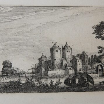 [Antique etching, ets, landscape print] J. v.d. Velde II, Figures in a pleasure boat near a castle (plezierbootje bij kasteel), published before 1713.