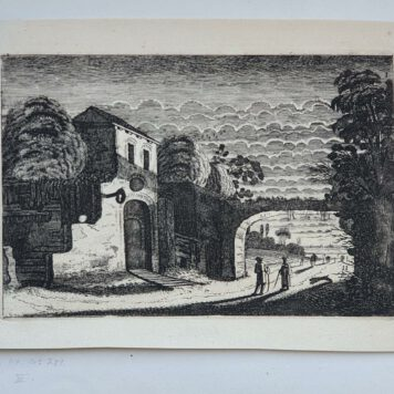 Print. J. v.d. Velde II, Figures in front of an inn at night.