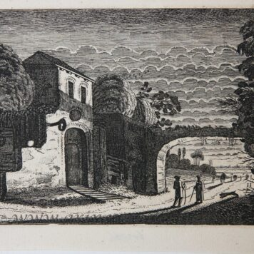 [Antique etching, ets, landscape print] J. v.d. Velde II, Figures in front of an inn at night, published before 1713.