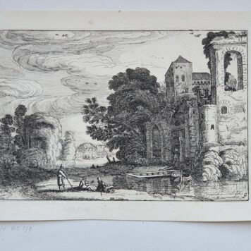 Print. J. v.d. Velde II, Figures by a castle lying by a river.