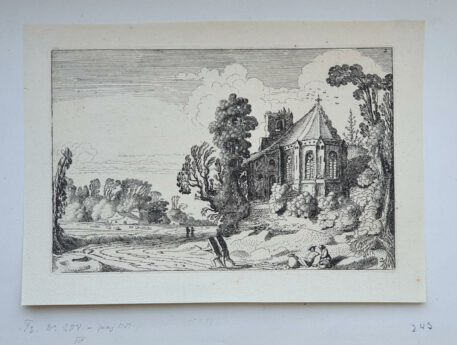 Print. J. v.d. Velde II, Figures on a country road near a ruined church.