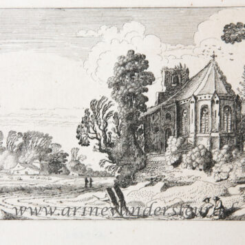 [Antique etching, ets, landscape print] J. v.d. Velde II, Figures on a country road near a ruined church, published before 1713.
