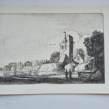 Print. J. v.d. Velde II, Landscape with fortress, a tower and a chapel.