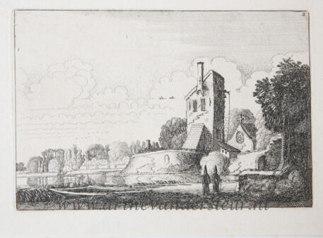 [Antique etching, ets, landscape print] J. v.d. Velde II, Landscape with fortress, a tower and a chapel, published before 1713.