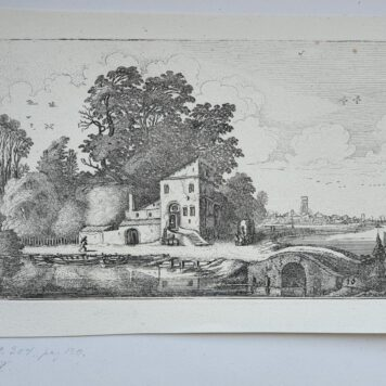 Print. J. v.d. Velde II, House near a stone bridge in a river landscape.