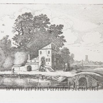 [Antique etching, ets, landscape print] J. v.d. Velde II, House near a stone bridge in a river landscape, published before 1713.